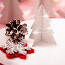 Ozdobné skládací stříbrné vánoční stromečky